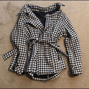 Houndstooth Belted Peacoat